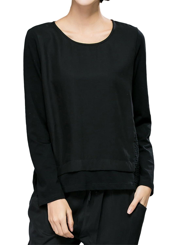Luna et Margarita Übergröße Fit ausgehölete T-shirt Bluse aus Tencel mit Rundhalsausschnitt und Langarm