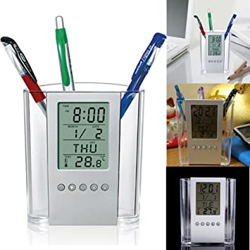 Bestseller Amazoon R Nouvelle Digital Desk Stylo Crayon Support Rveil LCD Thermomtre Et Affichage