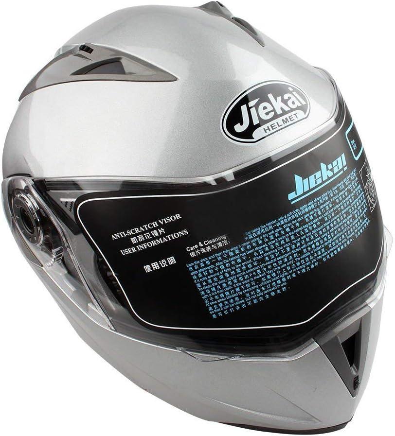Doble Visera Casco Moto Modular ECE, Casco de Moto Doble Visera, para Mujer Hombre Adultos con Doble Visera-Plata L