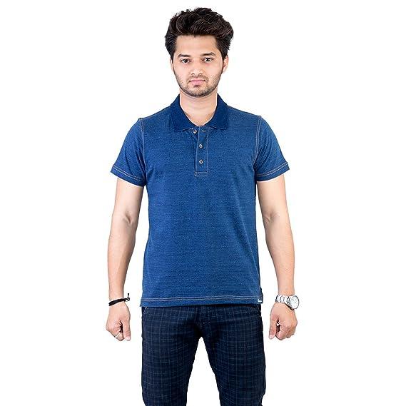 27c83117 Deep Blue Denim - T shirt High Quality Premium Solid Collar Men / Boy  Cotton Casual Polo ...