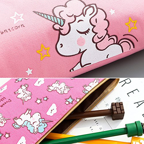 023cf3f30a70 Unicorn Pen Holder Makeup Bag Organizer Canvas Pencil Pouch Zipper  Stationery Purse Cute Wallet Portable Cosmetic Bags Travel Small Brush  Storage Case ...
