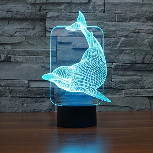 Comics+3D+Night+Lamp+ Products : Dolphin 3D Led Night Light Acrylic Desk Lamp Touch Switch 7-Color Xmas Gift