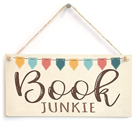 ECONG Book Junkie Placa de Madera Cartel de Madera Arte de ...