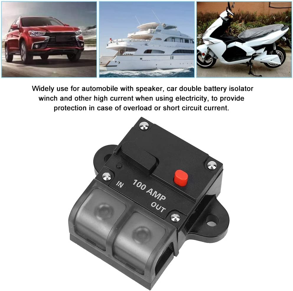Suuonee Car Circuit Breaker 100A DC 12-42V Heavy Duty Car Auto-reset Inline Circuit Breaker Waterproof Self-recovery Terminal Fuse for 50A//100A//200A//250A//300A Inputs