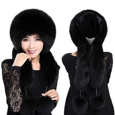e8cbf92305e Winter Womens Fox Fur Hat Russian Ushanka Trapper Hat with Pom Poms Cap  (Black) at Amazon Women s Clothing store