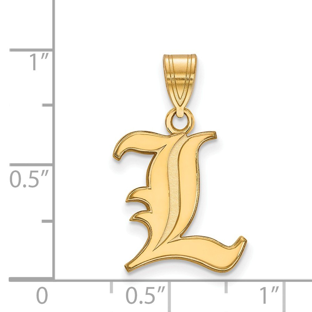 Solid 925 Sterling Silver with Gold-Toned University of Louisville Medium Pendant 15mm x 24mm