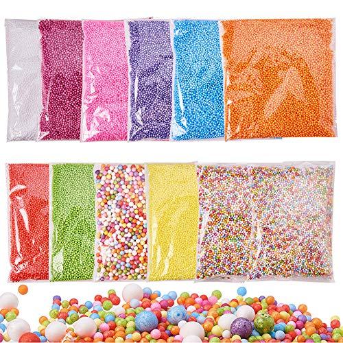 Pandahall Elite 12 Pack Foam Balls for Slime 0.1-0.35 Inch Styrofoam Balls Beads for Kid