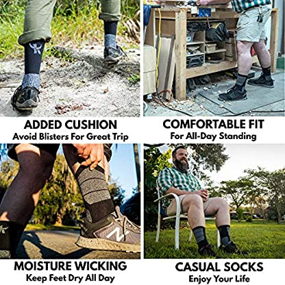 5 Pairs Mens Socks For Hiking Trekking Walking,Breathable Cushion Comfortable Casual Crew Socks 5