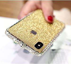 LUVI for iPhone XR Diamond Case Glitter Sticker Bling Rhinestone Crystal Metal Bumper Frame Case Cute Luxury for Women Girls Shiny Sparkle Electroplate Plating Case for iPhone XR Gold