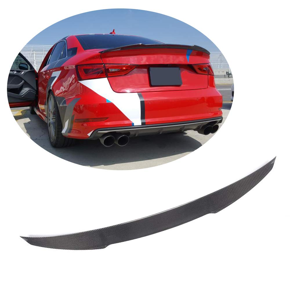 Mcarcar Kit Trunk Spoiler Fits Audi A3 8v Base Sline S3 Sedan 2014 2018 Sedan Real Carbon Fiber Rear Boot Lid Highkick Spoiler Wing Lip