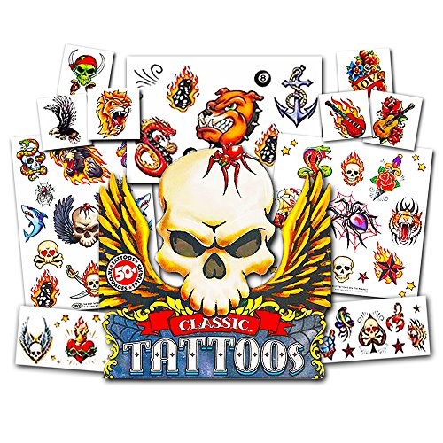 American Traditional Temporary Tattoos Set Kids Adults -- 50 Bold Classic Tattoos (Party (Kid Biker Costume)