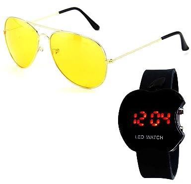 15de655d5cc6 Younky Combo Offer of Branded Stylish Sunglasses & Formal Digital Led Watch  for Men Women Boys