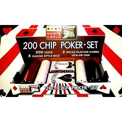 200 Chip Poker Set - 2 barajas de cartas Juego De Cartas - Distribuidor Chip - 5 estilo casino dados: Deportes y aire libre