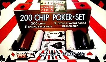 200 Chip Poker Set - 2 barajas de cartas Juego De Cartas ...
