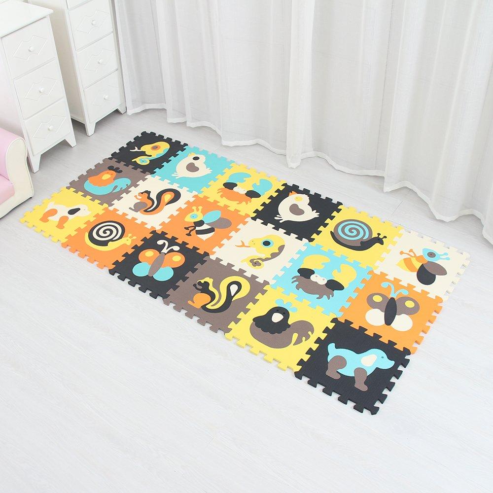 XMTMMD Schaumstoff Puzzle Matte Fruits Baby Gym Puzzle Spielmatte Kids Interlocking Soft Boden Fliesen Kinder Zimmer Play Bereich 18PCS AMP011011G301018