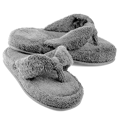 EuropeanSoftest Women's Cozy Memory Foam Soft Premium 100% Terry Cotton Cloth SPA Thong Flip Flops House Indoor Slippers (Medium / 7-8 B(M) US, - Foam Terry