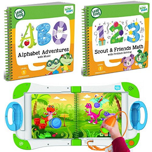 LeapFrog LeapStart Interactive Learning System Preschool and Pre-Kindergarten for Kids Ages 2-4+ Alphabet and Music & Scout & Friends Math Learning Basic Skills Books Fun Activity Bundle Set by LeapStart