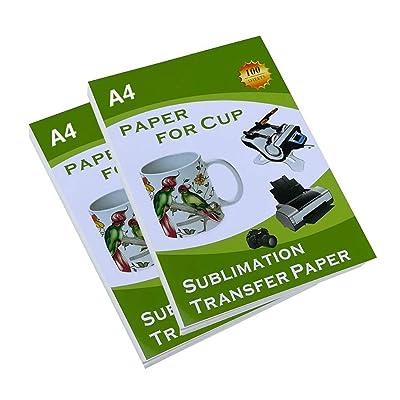 Papel de transferencia de sublimación para taza, de 8.5 x 11 pulgadas, tamaño A4, papel de transferencia de color claro para impresión de inyección de tinta, 100 hojas: Oficina y papelería