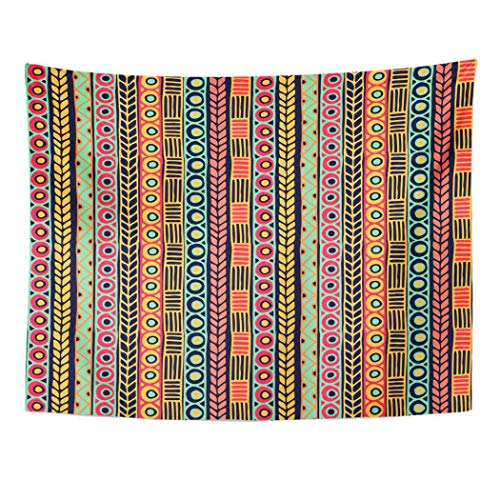 Tarolo Decor Wall Tapestry African Tribal Vintage Ethnic Boho Stripes Striped Pattern Shape Aztec Border 80 x 60 Inches Wall Hanging Picnic for Bedroom Living Room Dorm