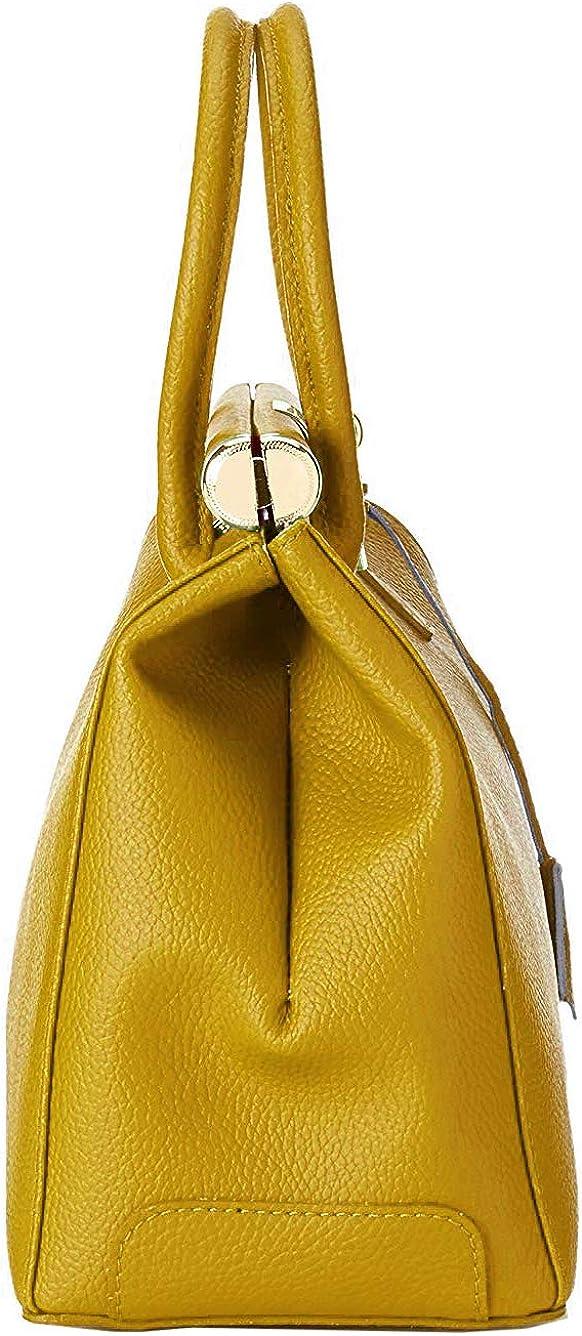 Roberta Rossi Borsa a mano da donna con tracolla fashion casual classica Top handle bag Vera Pelle Dollaro Made in Italy 35x28x16 cm RR80ST05CGGLD_P Dark Yellow