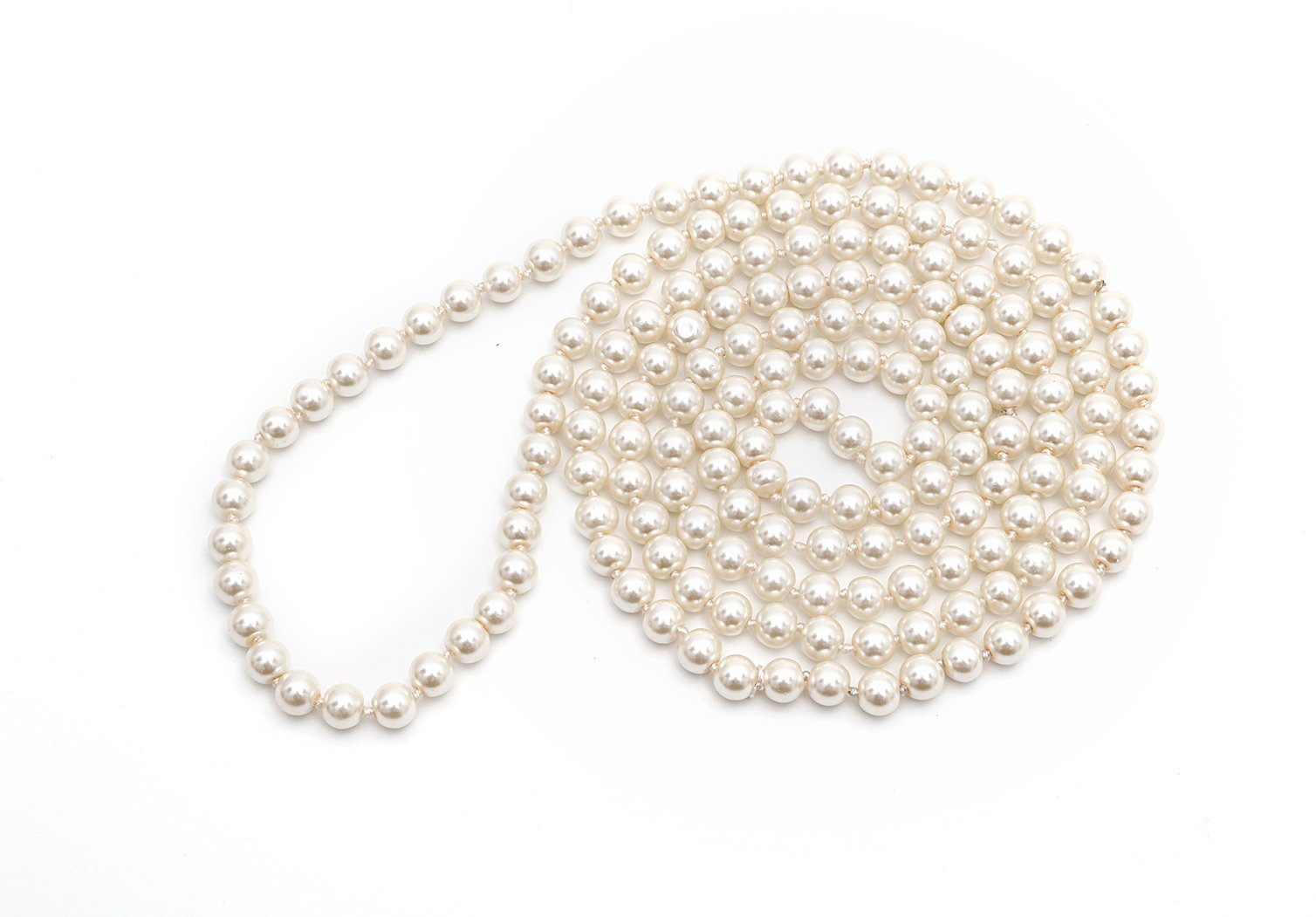 LILY L Long Faux Pearls Flapper Beads Cluster Pearl Necklace 49'' For Women