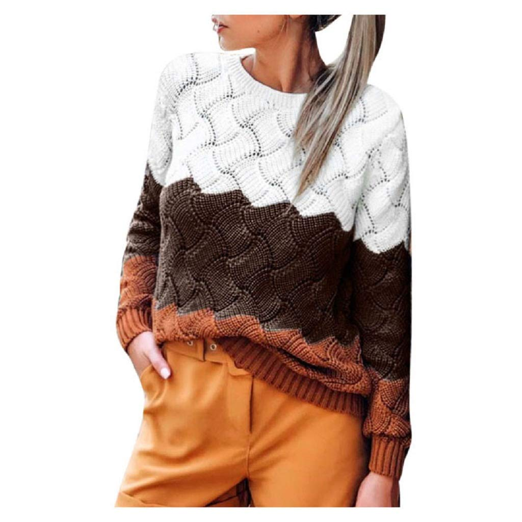SPORTTIN Women's Colorblocks Patchwork Chunky Knit Sweater Crew Neck Slim Fit Pullover Tops(Coffee,Medium) by SPORTTIN