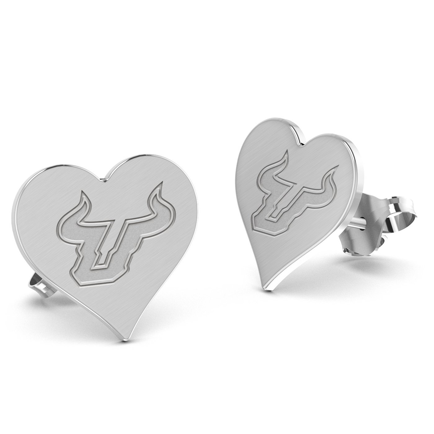 South Florida Bulls Heart Stud Earring See Image on Model for Size Reference
