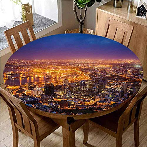 City Easy to Care for Leakproof and Durable Round Tablecloth Cape Town Panorama at Dawn South Africa Coastline Roads Architecture Twilight Outdoor Picnic D59 Inch Round Marigold Blue Pink
