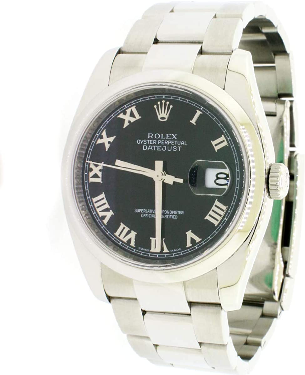 Image of Rolex Datejust Black Roman Dial 36mm Steel Oyster Watch 116200 Box Papers Certified Pre-Owned