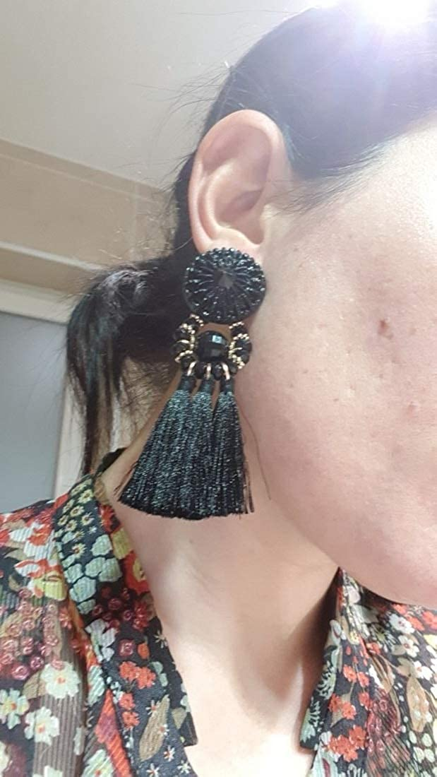 Drop- Beaded Nylon Cord Tassels IDB Delicate Fringe Resin Bead Tassel Earrings with a Large 3 13//16 Multiple Colors Available 3.82 // 98mm