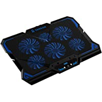 Tarkan 6 Fans Powerful LED Cooling Pad for 13 to 17 Inch Laptops with Temperature LCD Display & Fan Speed Controller (Blue)