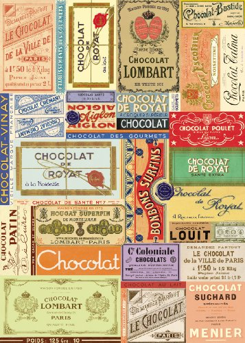 Chocolate Paper Wrapping (Cavallini & Co. Chocolate Label Collage Decorative Decoupage Poster Wrapping Paper Sheet)