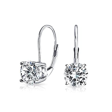 b2fc9511c7b8d Bridal .75 CT Classic Drop Leverback Earrings Round CZ Solitaire Prong Set  925 Silver .6 Inch