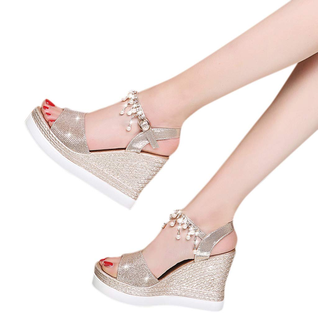 Summer Wedges Sandals Wide Width Shoes for Women Ladies Fashion Crystal Fish Mouth Sandals