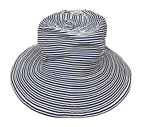 Nickanny's Packable Split Back Crusher Sun Shade Beach Hat, Adjustable Wide Shapeable Brim, SPF UPF 50 UV Protection With Ribbon Tie (Blue/Navy) by Nickanny's (Image #2)