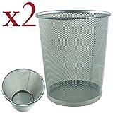 2 x Lightweight and Sturdy Circular Mesh Waste Bin (Silver)