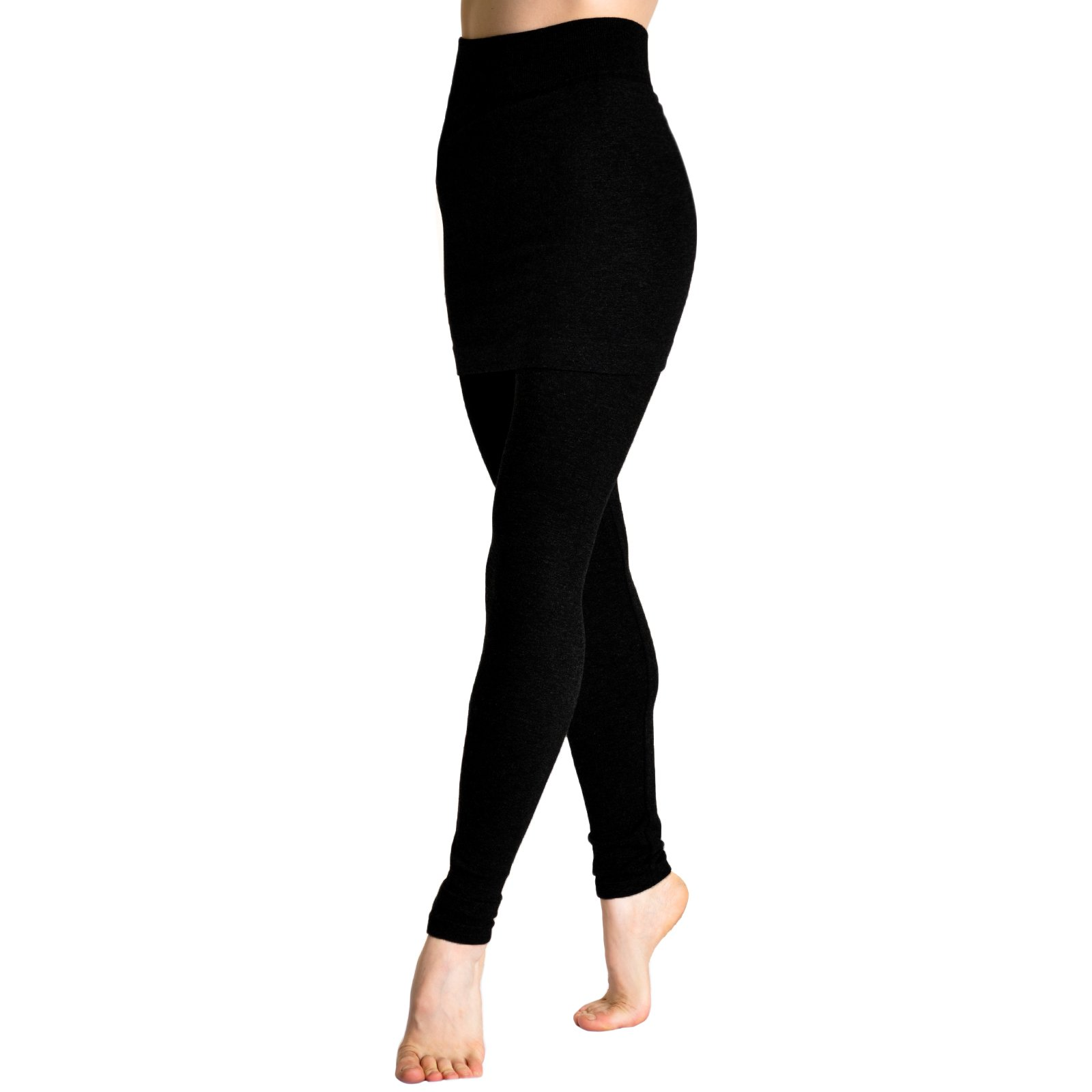 Angelina Cotton Blend Mini Skirt Leggings 021_Black, one size