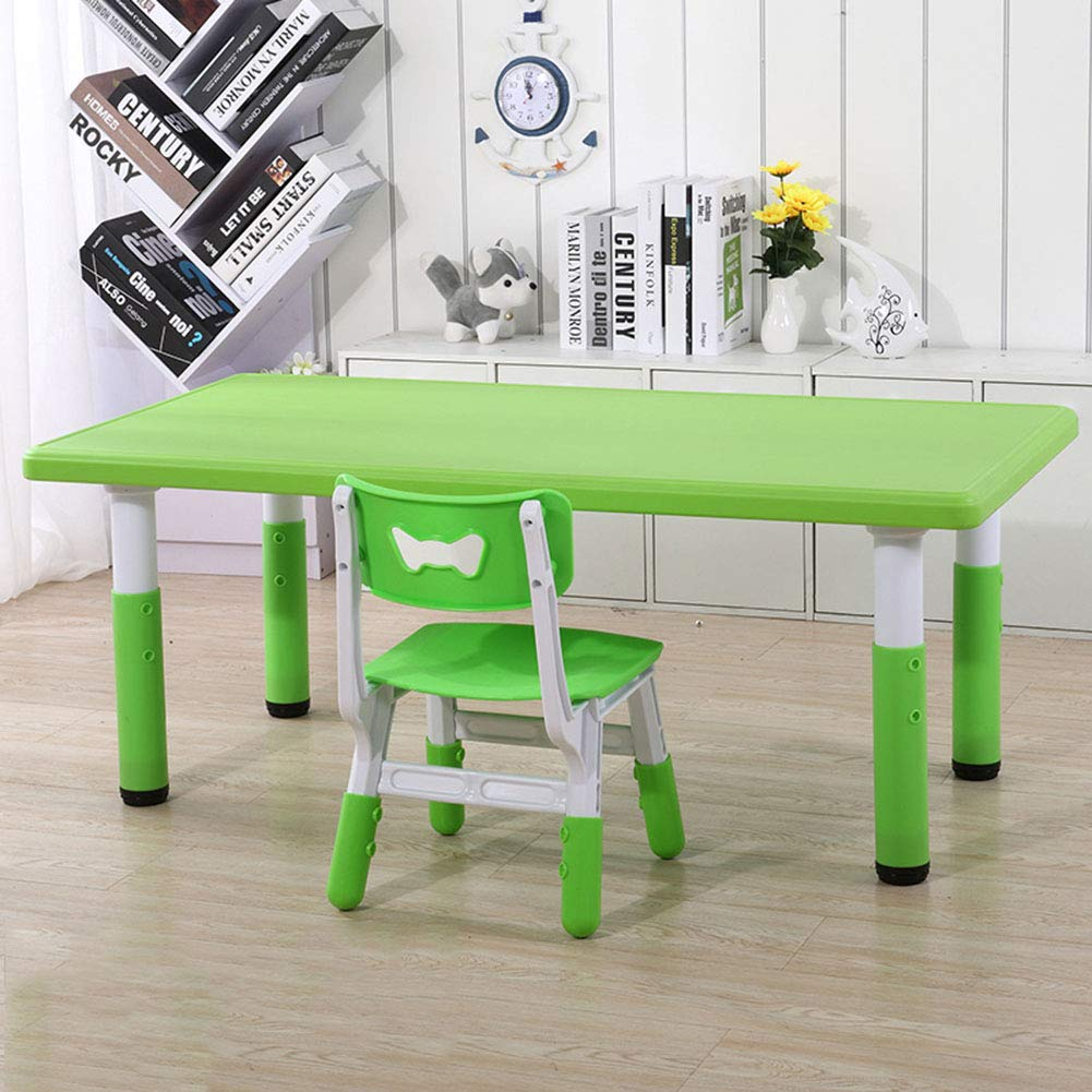 Green 1 table + 1 chair ZH Kids Plastic Table And Chairs,Rectangular Height Adjustable Activity Table, Green, Yellow Table And Chair Set For 2-8 Years Old Toddlers
