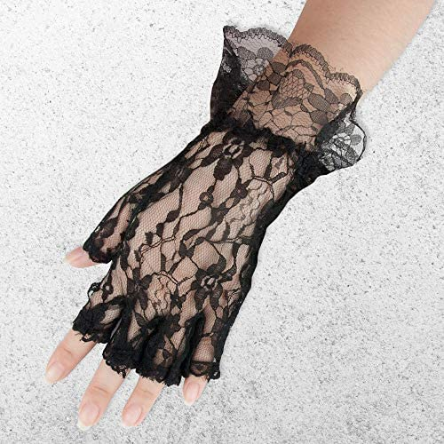 Skeleteen Fingerless Lace White Gloves Ladies and Girls Ruffled Lace Finger Free Bridal Wrist Gloves