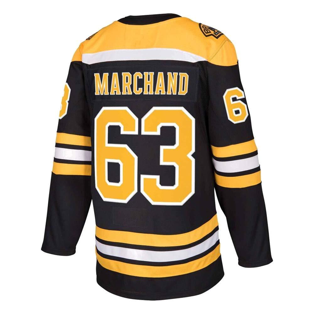 HEMWY Herren//Damen//Jugend/_Brad/_Marchand/_#63/_Schwarz/_Sportbekleidung/_Ausbildung/_Eishockey/_Jersey S-XXXL