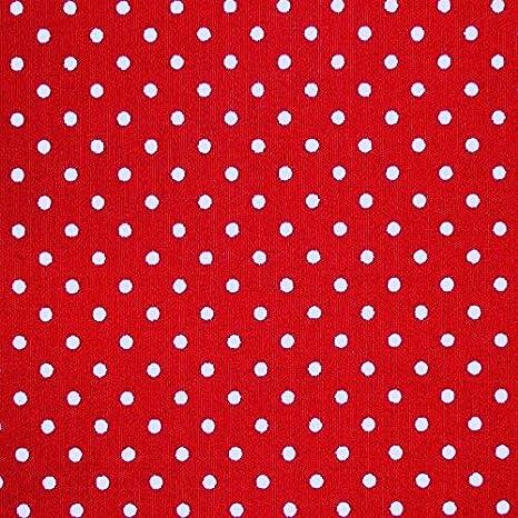 Rojo 100% popelina tela de algodón con lunares blancos (por metro ...