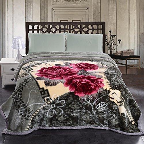 "Price comparison product image Jml 10 Pounds Heavy Plush Soft Blankets for Winter, Korean Style Mink Velvet Fleece Blanket – 2 Ply A&B Printed Raschel Bed Blanket King Size 85"" x 93"" (Grey Floral)"
