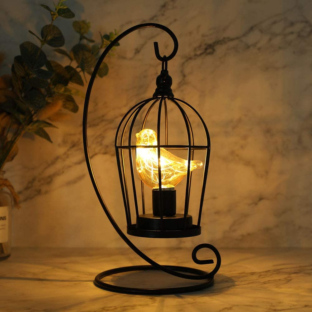 """JHY DESIGN Birdcage Bulb Decorative Lamp Battery Operated 12"""" Tall Cordless Accent Light with Warm White Fairy Lights Bird Bulb for Living Room Bedroom Kitchen Wedding Xmas (Black)"""