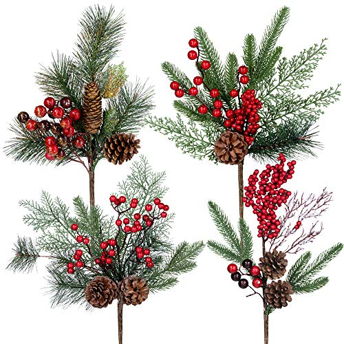 4 Pack Artificial Pine Stems Christmas Pine Spray with Pinecones Berries Spruce Cedar Holly Leaves Faux Pine Branches for Christmas Centerpiece Floral Arrangement Winter Holiday Greens Wedding Décor