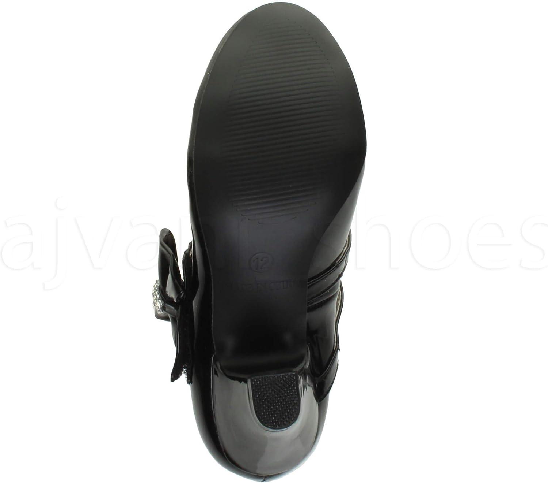 Ajvani Girls Kids Childrens Low Heel Party Wedding Mary Jane Style Hook /& Loop Sandals School Shoes Size