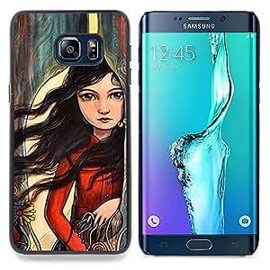 Stuss Case / Funda Carcasa protectora - Arte muchacha del pelo profundo Emo Hipster - Samsung Galaxy S6 Edge Plus / S6 Edge+ G928
