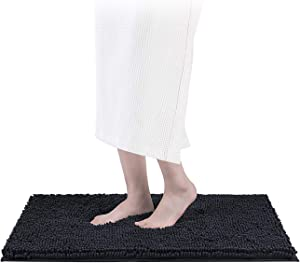 Smiry Luxury Chenille Bath Rug, Extra Soft and Absorbent Shaggy Bathroom Mat Rugs, Machine Washable, Non-Slip Plush Carpet Runner for Tub, Shower, and Bath Room(17''x24'', Wild Dove)