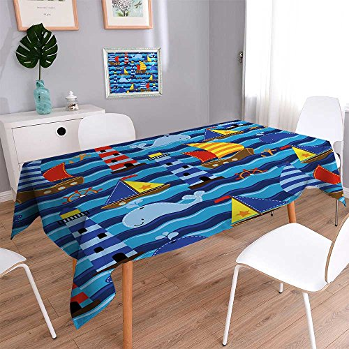 PRUNUSHOME Spillproof Fabric Tablecloth Seamless Tileable Na