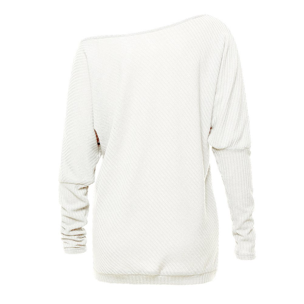 Women's Off Shoulder Batwing Sleeve Loose Pullover Sweater Knit Jumper by GOLDSTITCH (Image #2)