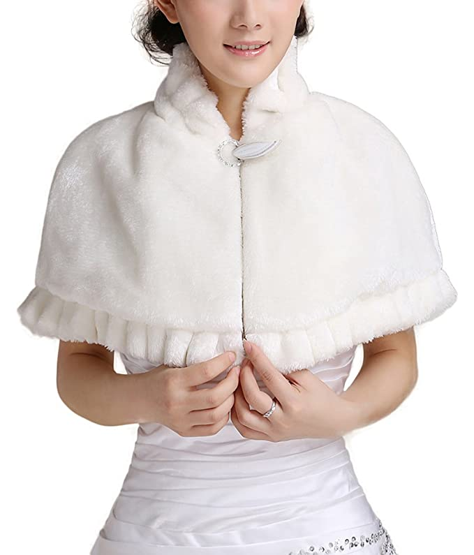 Victorian Wraps, Capes, Shawl, Capelets Short Sleeve Faux Fur Shawl $22.06 AT vintagedancer.com